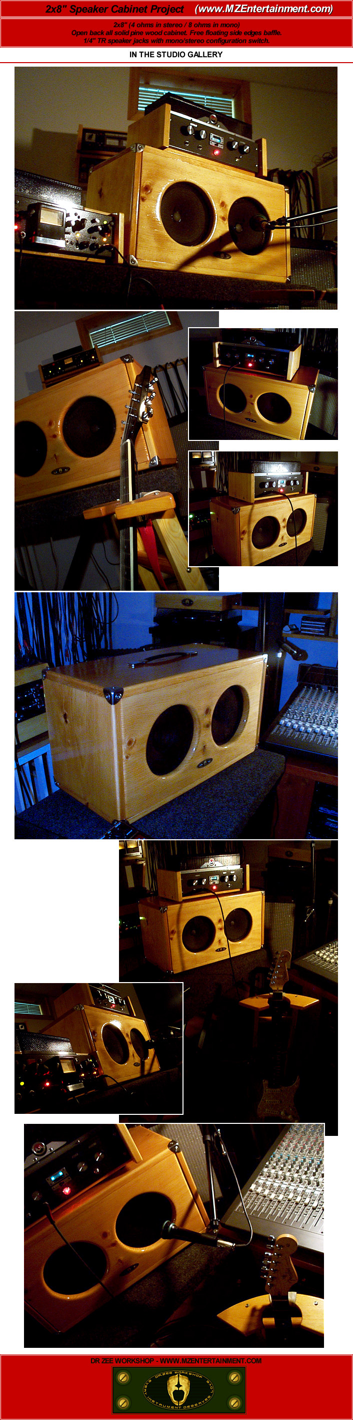 Mze Electroarts Entertainment Mzentertainment Com Dr Zee Workshop Custom Solid Pine Wood 2x8 Quot Guitar Amp Speaker Cabinet With Floating Edges