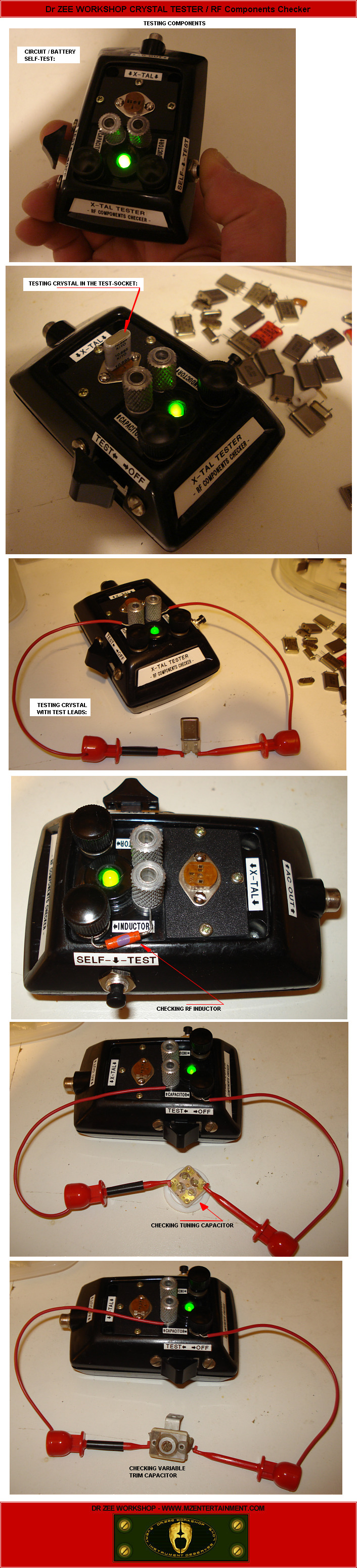 Mze Electroarts Entertainment Dr Zee Crystal Tester Circuit Schematic Diagram Workshop X Tal Photo Gallery Technical Information Schematics